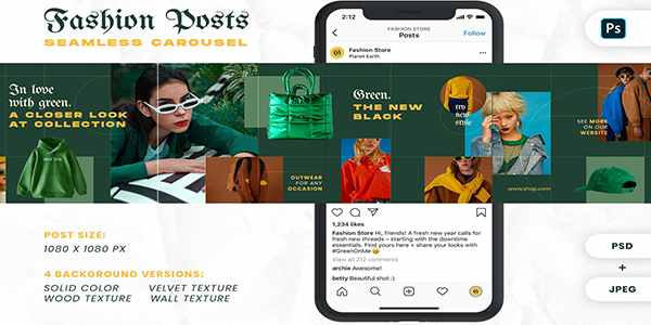 Fashion Green Instagram Carousel