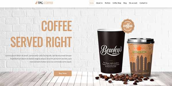 TPG Coffee - шаблон для напитков на WordPress